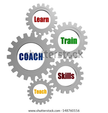 coach, learn, train, skill, teach - business concept words in 3d silver grey gearwheels - stock photo