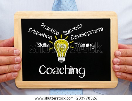 Coach with Coaching Concept Chalkboard - stock photo