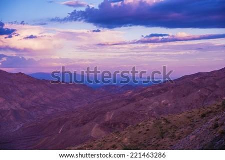 Coachella Valley and Salton Sea Sunset Scenery. California, United States. - stock photo
