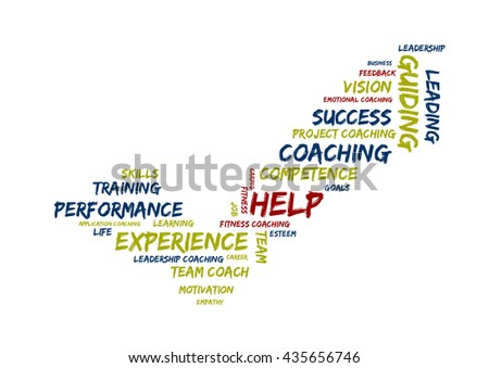 Coaching and experience word cloud - stock photo