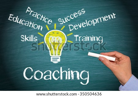 Coaching Business Concept with light bulb and text on green background