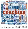 Coaching concept in word collage - stock