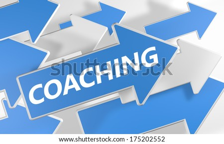 Coaching 3d render concept with blue and white arrows flying over a white background. - stock photo