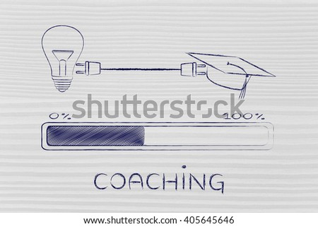 coaching: graduation caps & lightbulb connected by plug with progress bar, concept of sharing ideas and expertise - stock photo