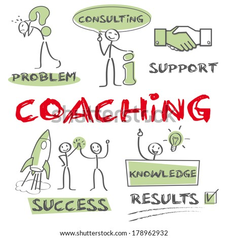 Coaching is a training or development process via which an individual is supported while achieving a specific personal or professional competence result or goal - stock photo