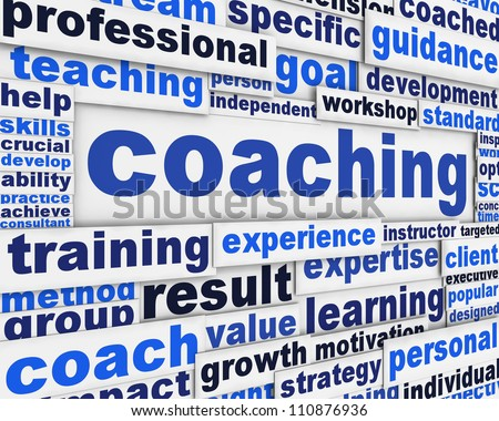 Coaching message conceptual design. Professional competences poster concept - stock photo
