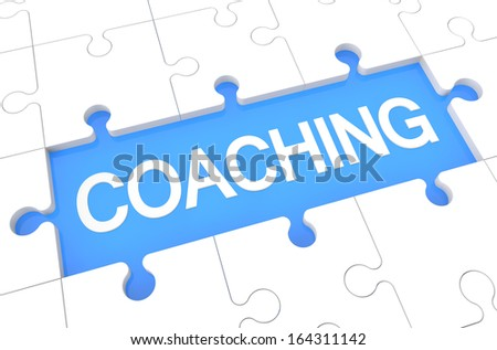Coaching - puzzle 3d render illustration with word on blue background - stock photo