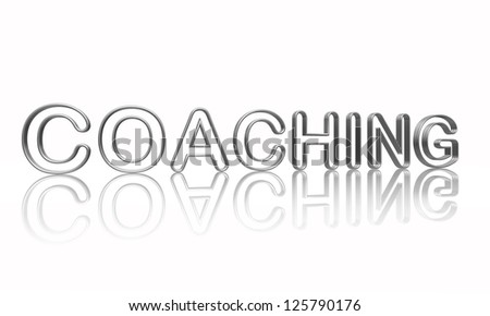 coaching text in 3d isolated silver metal wire letters with reflection - stock photo