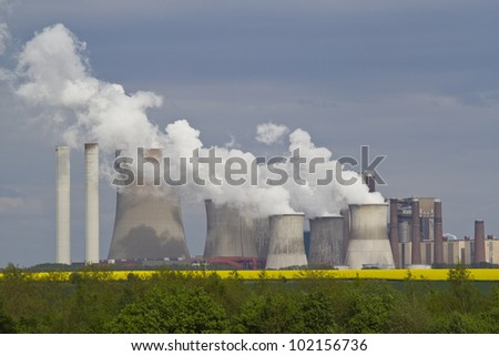 Coal and natural-gas fired power station in Germany, North Rhine-Westphalia - stock photo