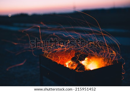 coal burning in camp fire at night - stock photo