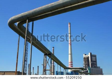 coal-burning power plant - stock photo