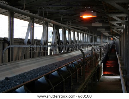 coal conveyor - stock photo