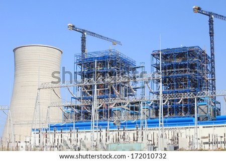 Coal fire, Lignite power plant, under-construction - stock photo