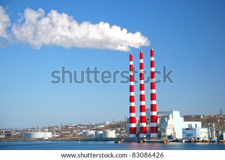 Coal fired power plant along the harbor in Halifax, Nova Scotia, Canada. - stock photo