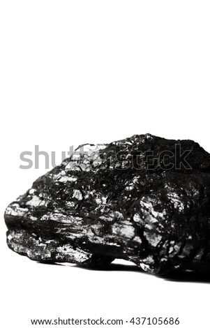 Coal isolated / A lump of coal isolated on a white background - stock photo