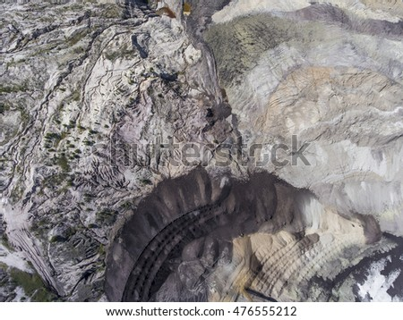 Coal mine in Poland. Destroyed land. View from above.