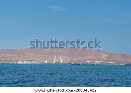 Coal mines and mining pier, Islas Ballestas,  Paracus, Peru - stock photo
