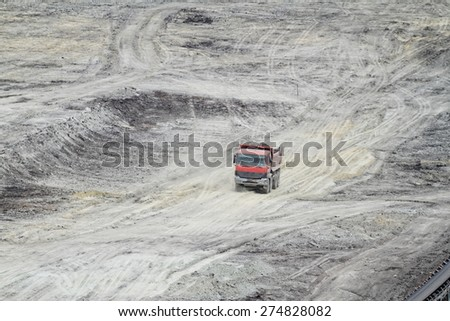 Coal mining in an open pit - stock photo