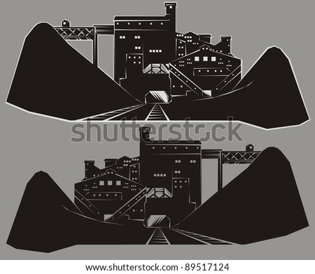 Coal mining industrial facility outline - black and white raster cartoon illustration set