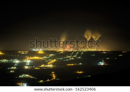 coal power station and night - Belchatow Poland. - stock photo