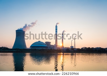coal power station in sunset , industrial landscape