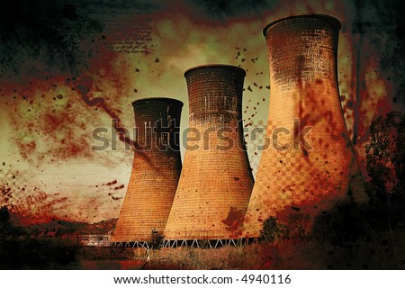 Coal powerstation with heavy grunge effect. Global warming concept. Some copyspace. - stock photo