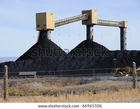Coal Stockpile at Rural Power Plant - stock photo