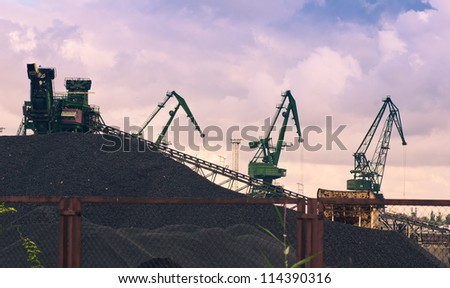 coal storage at harbor - stock photo