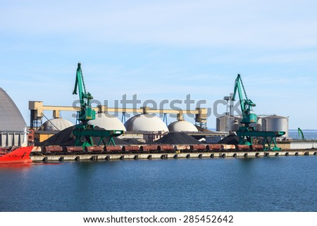Coal terminal in the port of Gdynia, Poland. - stock photo