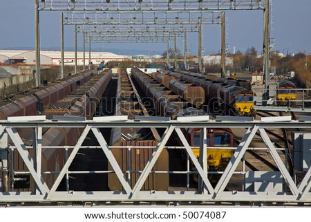 Coal trains in a freight depot at Avonmouth docks, Bristol UK - stock photo