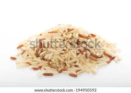 Coarase rice Thai isolated with white background