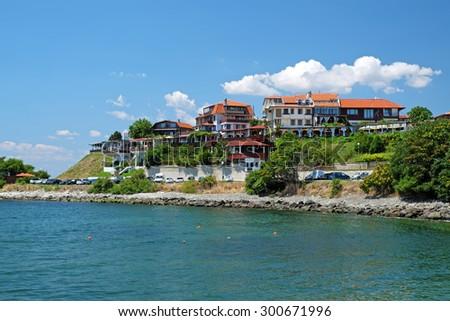 Coast in old city of Nessebar, Bulgaria - stock photo
