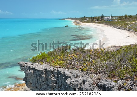 Coast line of Little Exuma, Bahamas - stock photo