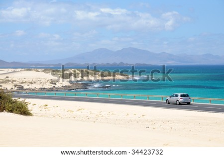 Coast near Corralejo, Canary Island Fuerteventura, Spain - stock photo