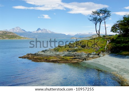 coast near ushuaia in patagonia - stock photo