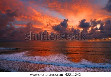 Coast of Bali, Indonesia, at sunset - stock photo