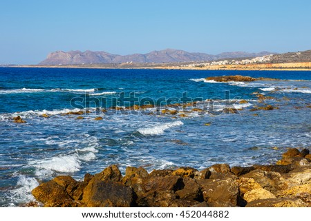 Coast of Crete island near Chania in Greece - stock photo