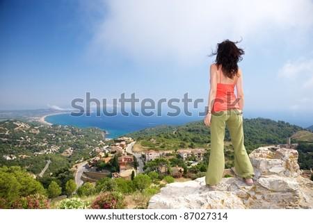 coast of Girona from Begur castle at Catalonia Spain - stock photo