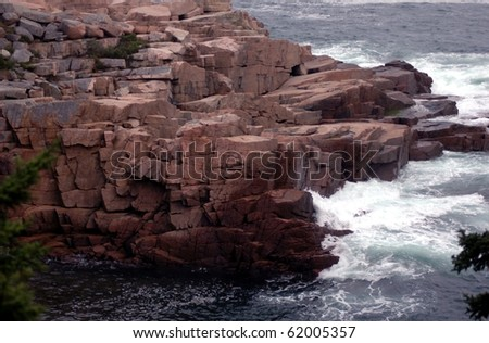 Coast Of Maine-Rocky coast of Maine. - stock photo