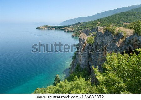 coast of Ohrid lake near Trpejca, Republic of Macedonia - stock photo