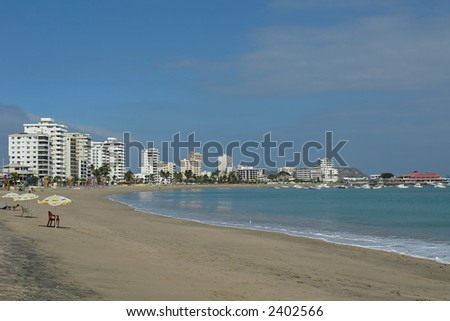 coast of pacific. salinas. ecuador. south america - stock photo