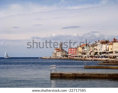 Coast of Piran, Slovenia - stock photo