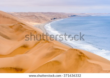 Coast of the Atlantica Ocean at the Namib-Naukluft National Park, Namibia - stock photo