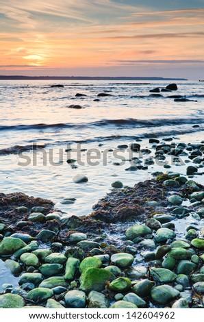 Coast of the Baltic Sea at sunset - stock photo