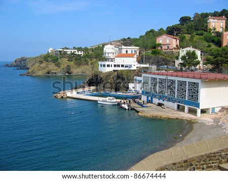 Coast with a scuba diving center in the village of Cerbere, Mediterranean sea, Vermilion coast, Pyrenees Orientales, Roussillon, France