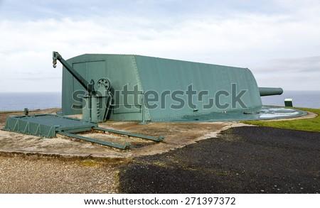 Coastal battery cannon in Monte de San Pedro, La Coruna, Spain - stock photo