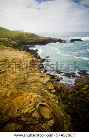 Coastal cliffs on New Zealand mainland's most southerly point, Slope Point.