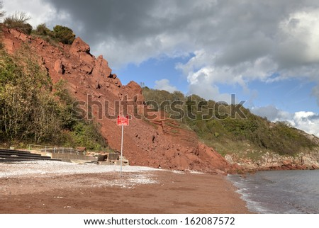 Coastal erosion at Babbacombe Beach, Devon, England. - stock photo