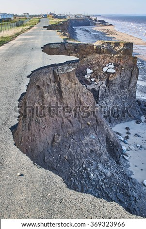 Coastal erosion of the cliffs at Skipsea, Yorkshire on the Holderness coast  - stock photo