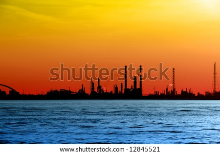 Coastal Factory cityscape - stock photo